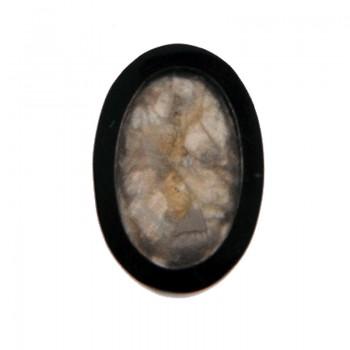 Ovale in resina 20x28 con conchiglia grigia