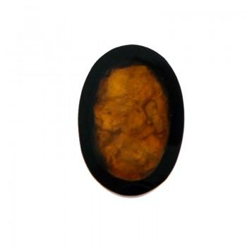 Ovale in resina 20x28 con conchiglia gialla