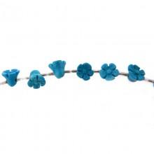 Fiore turchese sintetico mm 10 con foro passante
