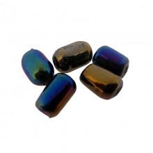 Cilindro in vetro da mm 7 colore scarabeo con foro passante