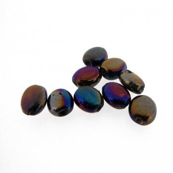 Ovale in vetro da mm 9 colore scarabeo con foro passante