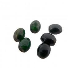 Ovale in vetro da mm 8 colore verde con foro passante