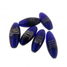 Ovale con foro mm 30 blu con lavorazione