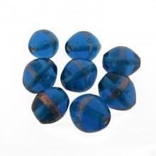 Ovale con foro da mm 14 azzurro+oro