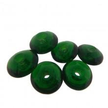 Sfera schiacciata in vetro verde da mm 12 con foro passante