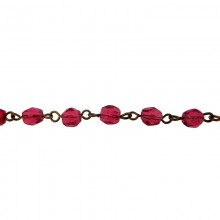 Catena con semicristallo rose da mm 5/6