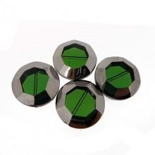 Tondo sfaccettato in vetro mm 22 verde e argento