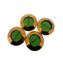 Tondo sfaccettato in vetro mm 22 verde e oro