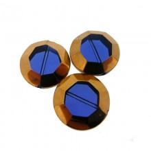Tondo sfaccettato in vetro mm 22 blu e oro