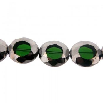 Ovale vetro sfaccettato mm 24x20 verde e argento