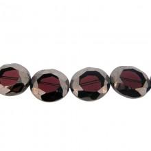 Ovale sfaccettato in vetro mm 20 x 24 viola e argento