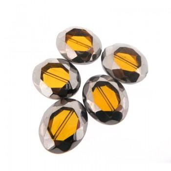 Ovale vetro sfaccettato mm 24x20 giallo e argento