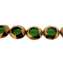 Ovale vetro sfaccettato mm 24x20 verde e oro