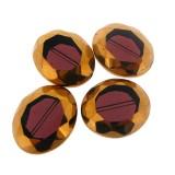 Ovale sfaccettato in vetro mm 20 x 24 viola e oro
