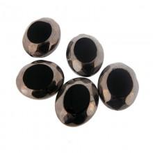 Ovale in vetro mm 20 x 24 nero e argento