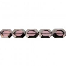 Ottagono in vetro mm 11X16 viola e argento