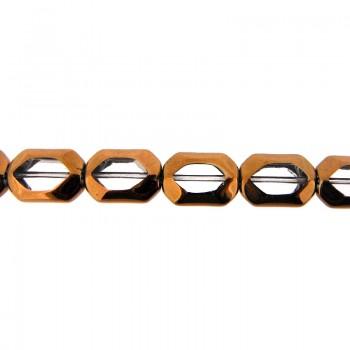 Ottagono vetro mm 11x16 cristallo e oro
