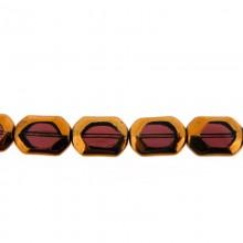 Ottagono vetro mm 11x16 viola e oro