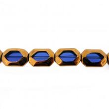 Ottagono vetro mm 11x16 blu e oro