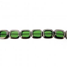 Rettangolo in vetro mm 10X12 verde e argento