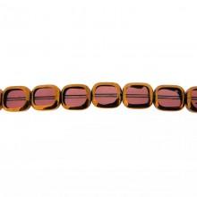 Rettangolo in vetro mm 10X12 viola e oro
