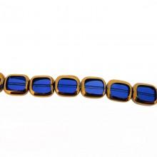 Rettangolo in vetro mm 10X12 blu e oro