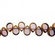Goccia piatta vetro mm 8x10 viola e oro