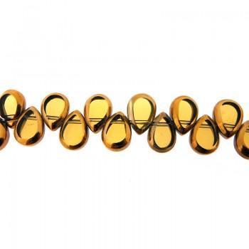 Goccia piatta vetro mm 8x10 giallo e oro