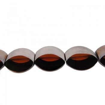 Particolare ovale in vetro mm 19X7 argento + topazio