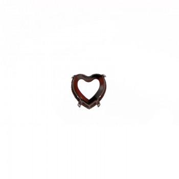 Castone tedesco cuore da ricamo con griffe mm 28X28 nickel free