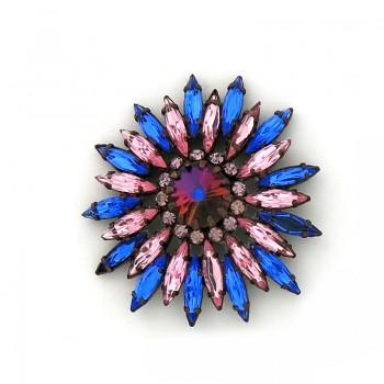 Bottone gioiello con strass navette rosa e blu 60 mm