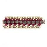 Morsetto in catena oro con strass e filo rosso 80 mm