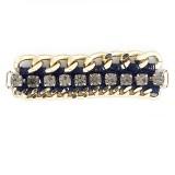 Morsetto in catena oro con strass e filo blu 80 mm