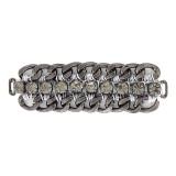 Morsetto in catena nikel nero e strass con filo grigio 80 mm