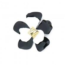 Accessorio fiore bianco e nero con piramide in oro chiaro 70 mm circa