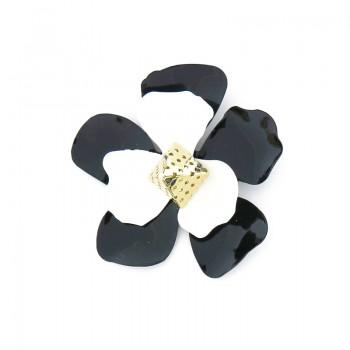 Accessorio fiore bianco e nero con piramide 70 mm circa