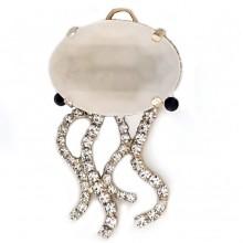 Pendente medusa con pietra ovale e strass 55 mm