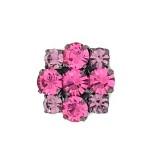 Bottone gioiello con strass tondi rosa 25 mm