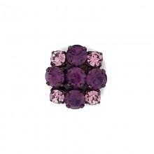Bottone gioiello con strass tondi rosa e viola 25 mm