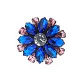 Bottone gioiello con strass goccia rosa e navette blu 40mm