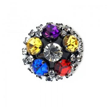 Bottone gioiello tondo con strass in vario colore 35 mm