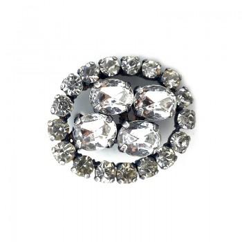 Bottone gioiello ovale con strass 35 mm