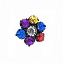 Bottone gioiello con strass tondi colorati 30 mm