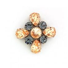Bottone in oro con pietre colorate 5.5 cm