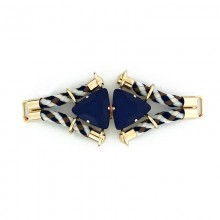 Morsetto con corda e pietre triangolari blu 13 cm