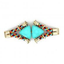 Morsetto con corda e pietre triangolari celeste 13 cm