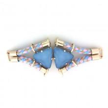 Morsetto con corda e pietre triangolari azzurre 13 cm