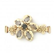 Morsetto fiore con pietre crystal in oro chiaro 7 cm