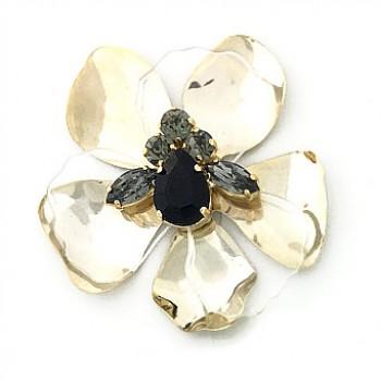 Fiore in metallo e plexi con pietre al centro 70 mm