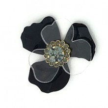 Fiore piccolo in metallo e plexi con strass centrale